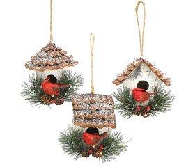 Amazon.com - Set of 3 Birdhouse Ornaments Christmas ...