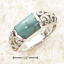 Sterling Silver Wide Turquoise Bar Inlay Open Shank Ring - Size 8.0