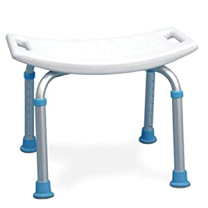 AquaSense Adjustable Bath and Shower Chair with Non-Slip Seat, White