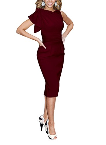 Destinas Women's Sleeveless Celebrity Elegant Ruched Prom Party Bodycon Dress (M, Burgundy)