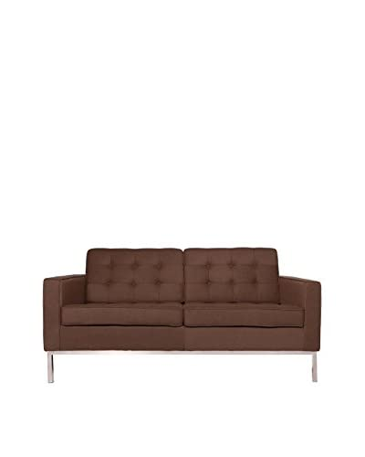 LeisureMod Modern Lorane Wool Loveseat, Brown