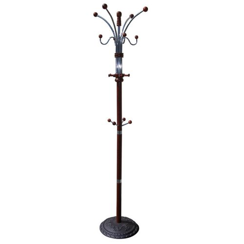 Ore International R685Ch Six Foot Wood And Chrome Coat Rack Cherry Finish Mpn: R685Ch