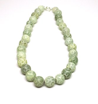 Carved/Etched Jade Necklace