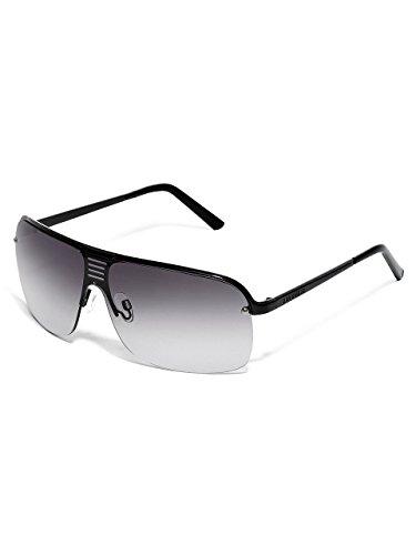 G By Guess Men'S Semi-Rimless Shield Sunglasses With Cutout Bridge, Black