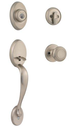 Kwikset Chelsea Single Cylinder Handleset W/Cameron Knob Featuring Smartkey® In Satin Nickel front-525494
