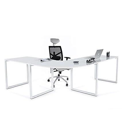 Bureau d'angle blanc laqué Président - Dimensions : 230x200x70cm - Hauteur : 76cm