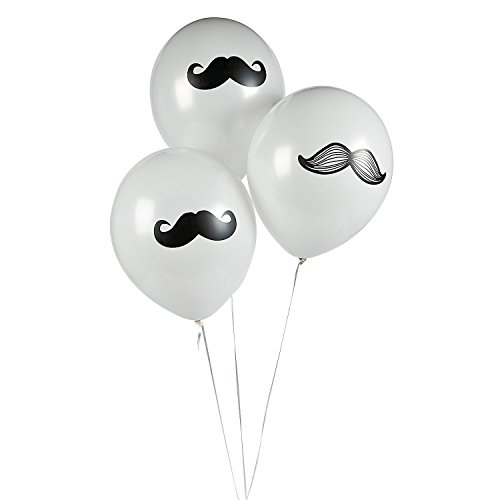 12 Mustache Party Balloons