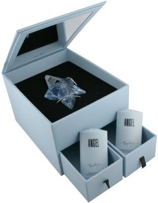 Angel By Thierry Mugler For Women. Set-eau De Parfum Spray Refillable .8 Ounces & Shampoo 0.9 Ounces & Body Lotion 1 Ounces & Jewelry Box