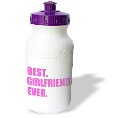 Wb_179720_1 Inspirationzstore Typography - Pink Best Girlfriend Ever Text Anniversary Valentines Day Gift For Her - Water Bottles
