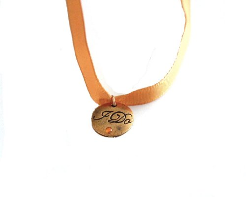 I Do Charm with Crystal-Antique Gold Charm-Gold Stone