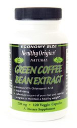 Green Coffee Bean Extract 120 Veggie Capsules 200 mg Green Coffee Extract Contains 50 Chlorogenic Acid Value Size