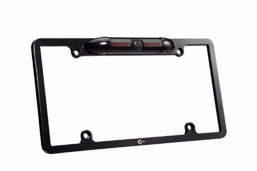 [2015 Latest] Esky® EC170-09 Waterproof High Sensitive Color CMOS Black Aluminum Alloy Universal Car License Plate Frame Mount Rear View Backup Camera with 170 Degree Viewing Angle and 8 IR LED Night