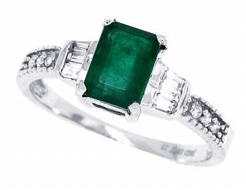 1.02Ct Emerald Cut Genuine Emerald and Diamond Ring in 10Kt White Gold