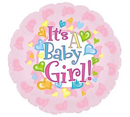 "It's a Baby Girl Feet 18"" Mylar Double Sided Balloon - 1"