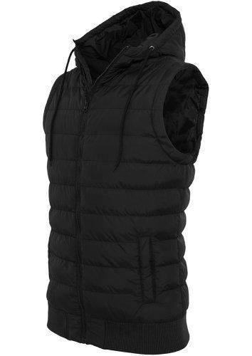 URBAN CLASSICS-Felpa da uomo con cappuccio-gilet-gilet trapuntato-Giacca invernale da ottico donna con cappuccio nero XL