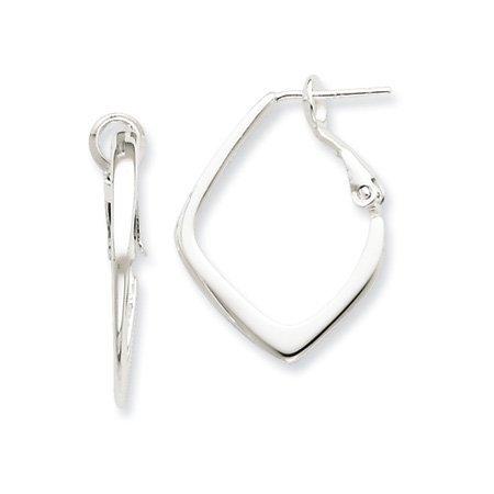 Black Bow Jewellery Company : Geometric Hoop Earrings in Silver - 25mm (1