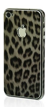 Apple Iphone 4/4S Aluminium Protective Sticker Skin Full Body Matte (Included Anti Finger Anti Glare Screen Protector Guard Film - 2 Pack) For Luxury Looks Diamond Cutting (Leopard Grey)