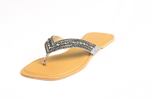 Route Flat Heel Ladies Synthetic Chappals Fitted With Beads And Stones - [YH-H-C-008] - B00N2LAFPO
