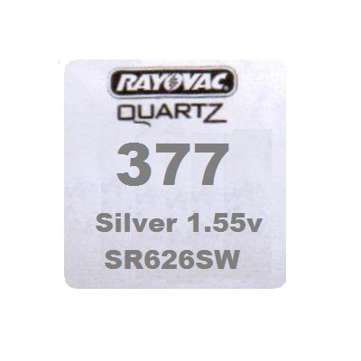 Rayovac Pile 377 SR626SW SB-AW Pile oxyde d'argent pour montres 1,55 V