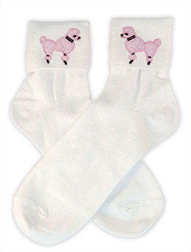 Hip Hop 50S Shop Womens Bobby Sock With Light Pink Poodle Applique - Adult Size White With Light Pink