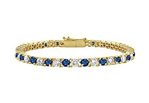 Sapphire and Diamond Tennis Bracelet 14K Yellow Gold 1.50 CT TGW
