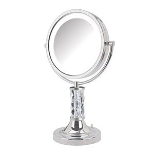 Jerdon Limited Edition Steuben Artisan Series Makeup Mirror, Prism, Chrome, 8.5-Inch, 5.5 Ounce