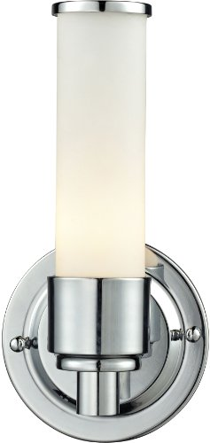 Elk Lighting 84060/1 10 by 5-Inch Metro 1-Light Steel Bath Bar with White Glass Shade, Chrome Finish