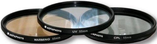 AGFA 3-Piece Professional Filter Kit 55mm - Ultraviolet (UV) + Circular Polarizor (CPL) + Warming Intensifier APFTK55 (Uv Filter Camera compare prices)