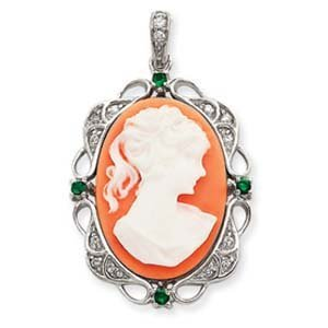 PriceRock Sterling Silver Clear  &  Green CZ Cameo Pendant