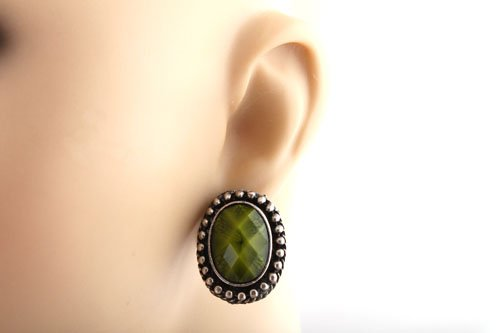 Ladies Silver with Dark Green Multifaceted Oval Shaped Stone Clip On Earrings