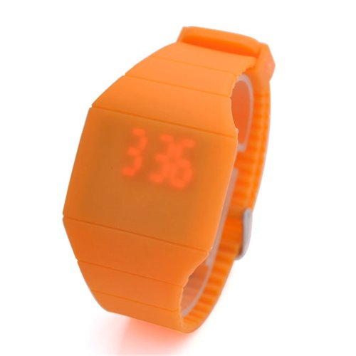 Jovivi Ultra-Thin Unisex Boy And Girl Touch Screen Led Digital Silicone Sport Wrist Watch - Orange