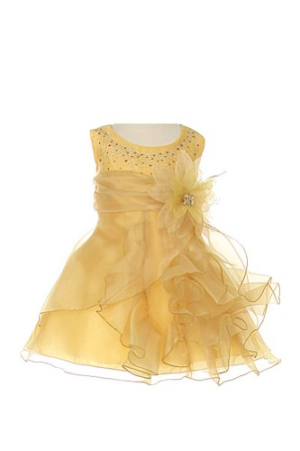 Baby Crystal Organza Rhinestone Special Occasion Dress Gold L 18 Month