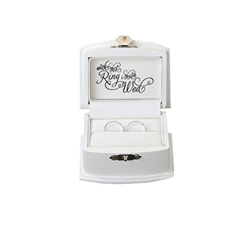 Lillian Rose Ring Bearer Box, 3.5-Inch by 2.75-Inch, White