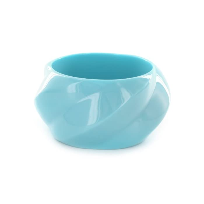 Grooved Sky Blue Colored Resin Bangle Bracelet