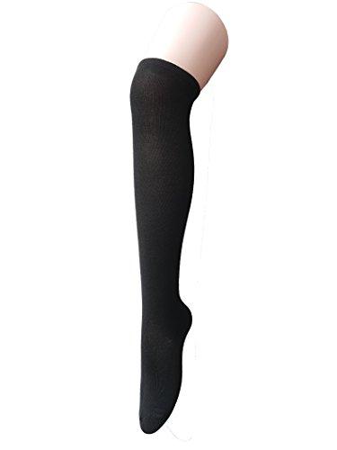 Zando Women Cotton Thin Stripes Tube Thigh High Tights Over Knee Stocking Socks A Black Retro Cheer Shorts