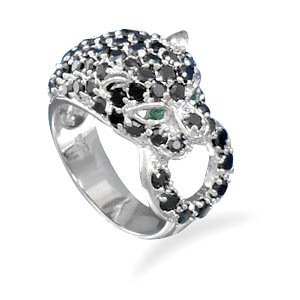 Sterling Silver Rhodium Plated CZ Panther Ring / Size 8