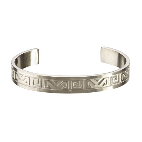 Mens Tibetan Silver Style Stainless Steel Cuff Wristband Bangle Bracelet with a Silver Aztec Style Pattern. Great Gift For Under £20.