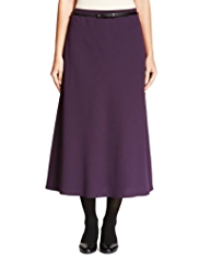 M&S Collection A-Line Crêpe Long Skirt with Belt