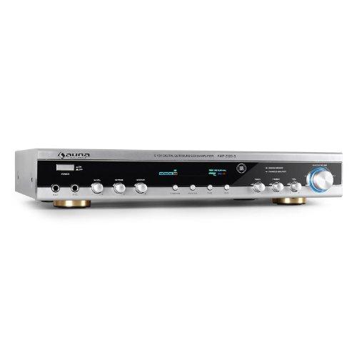 Auna AMP2520 - Ampli Home Cinema HiFi et Surround avec 2 entrées micro pour un usage karaoke et récepteur radio (400W de puissance max) - Argent