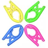 KLOUD City® Pack of 4 (Blue, Yellow, Green, Hot Pink) plastic foldable travel clothes hanger with anti-slip grooves plus KLOUD City cleaning cloth