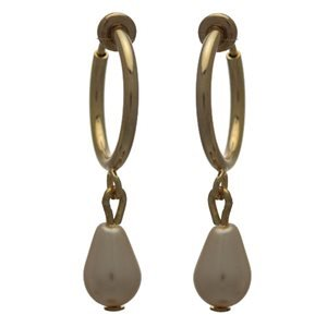 Cerceau 15mm Gold Plated Cream Pearl Drop Clip On Earrings