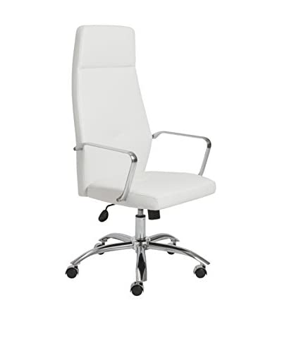 Euro Style Napoleon High Back Office Chair, White