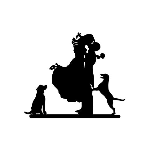 FENICAL Romantic Couples with Dogs Style Cake Topper Wedding Anniversary Party Cake Topper (Black)