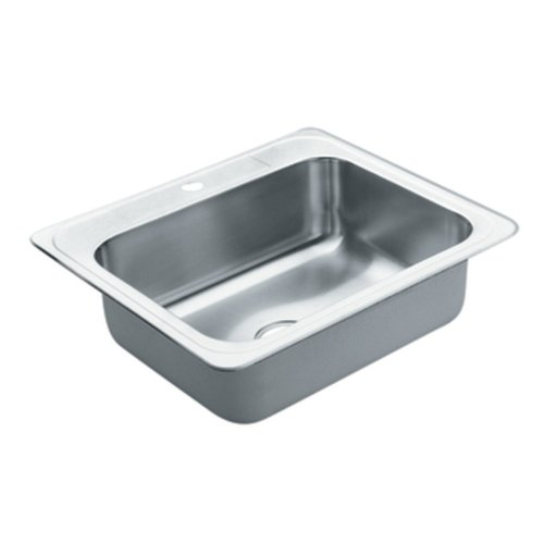 Moen 22887 Excalibur Steel 22 Gauge Single Bowl Drop In Sink, Stainless