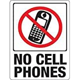 """Hy-Ko Plastic Sign White 9"""" X 12"""" No Cell Phones Polystyrene"""