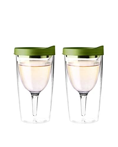 asobu Set of 2 Vino 2 Go, Green