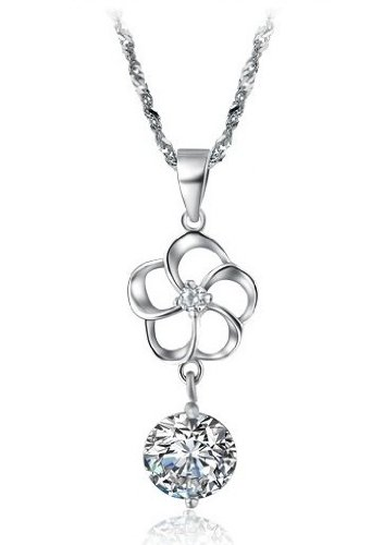 Brand New Lady's Platinum Plated Sterling Sliver Cubic Zirconia Stone Pendant Necklace Simple Korean Style