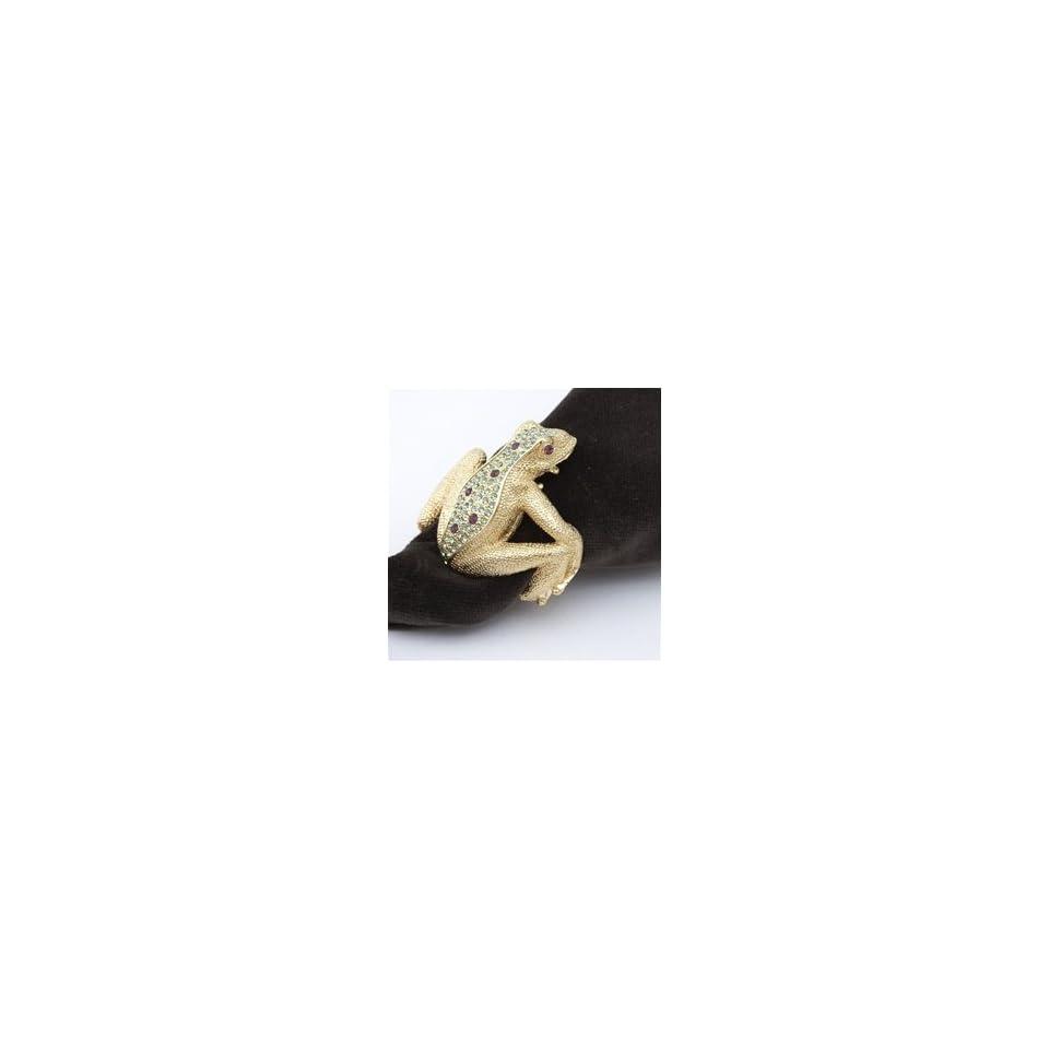 LObjet Gold Frog Napkin Rings, Multicolor Swarovski Crystals Set/4