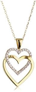 Bella Donna - 656680 - Collier avec pendentif Femme - Coeur - Or jaune 375/1000 (9 Cts) - diamant