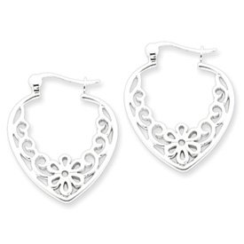 Sterling Silver Filigree Heart Hoop Earrings - JewelryWeb